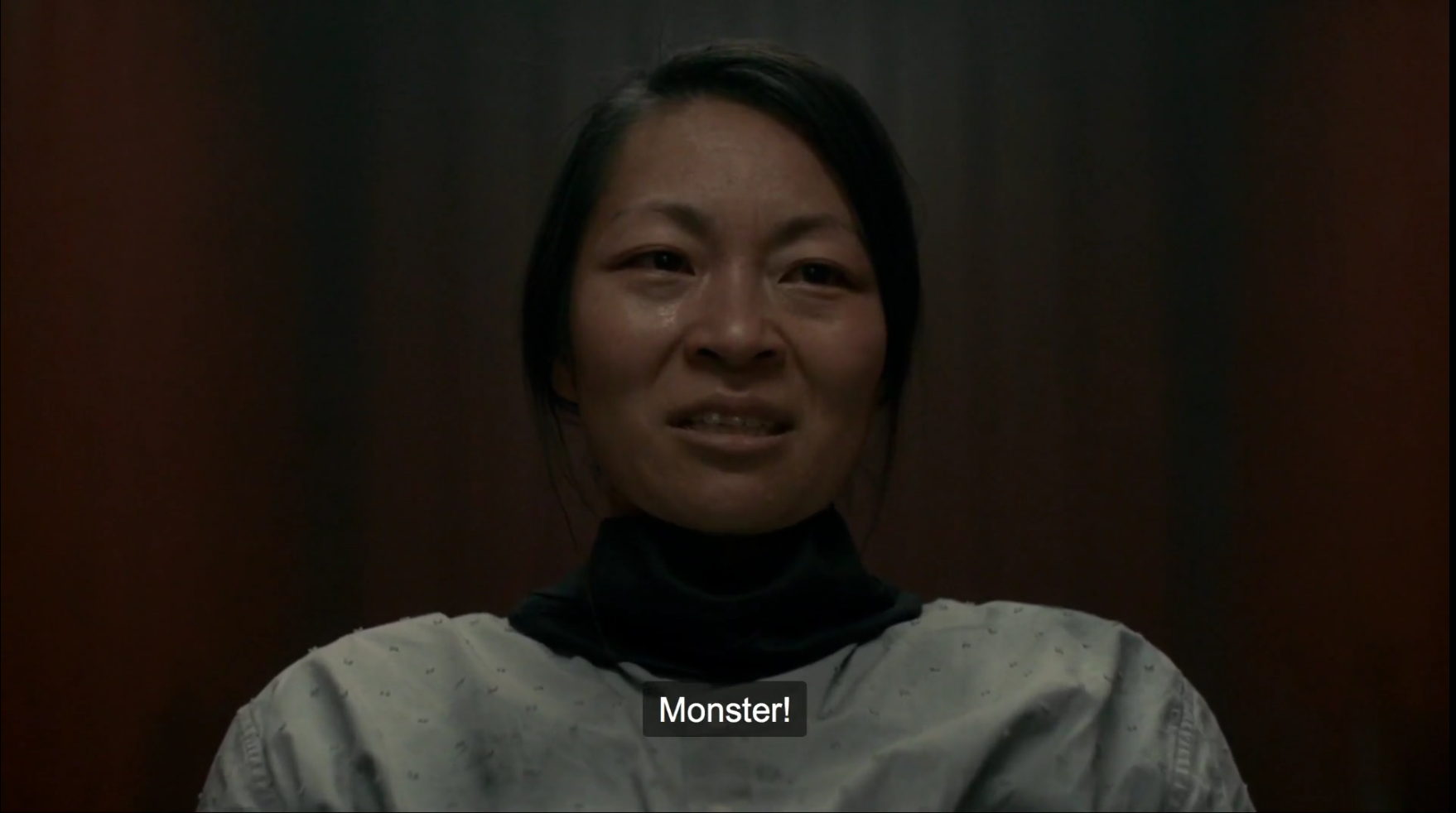 "Jung Sun den Hollander as Jin (the ""Ghost"") saying ""Monster!"""